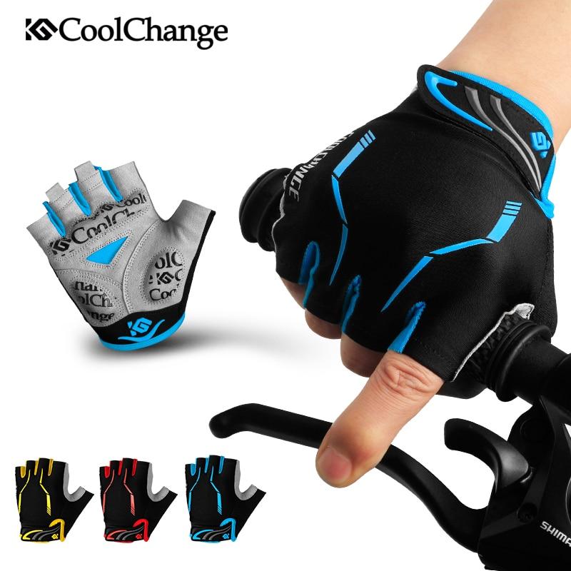 CoolChange-guantes con almohadilla de GEL para bicicleta, de medio dedo, para deportes...