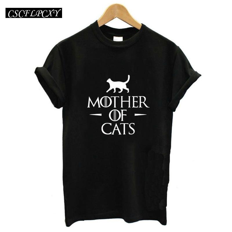 Camisetas de verano para mujer, Camiseta con estampado de gato, jersey de manga corta para mujer, camiseta informal negra de estilo Harajuku con cuello redondo