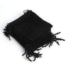 Nouveau 100 pièces 12*10Cm noir velours cadeau cordon poche sacs de mariage vacances nouvel an noël fête cadeau sac bijoux emballage