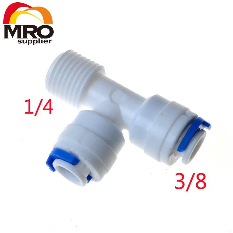 """5 piezas 1/4 """"macho 3/8"""" tubo OD manguera tipo T Qucik conexión RO conector de agua accesorios ósmosis inversa sistema de acuario ST004 G"""
