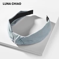 luna chiao female hair accessories solid color velvet suede fabric knoted head band for women