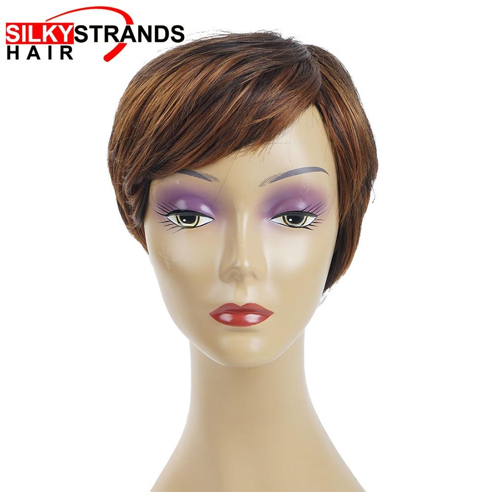 Perruque noire, coupe Bob synthétique, lisse, coupe Pixie courte, coiffure avec raie latérale et brins soyeux pour femmes