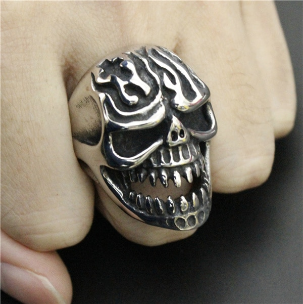 Drop Ship Size 8-13 Heavy Huge Fire Flam Skull Ring 316L Stainless Steel Cool Cross Ghost Skull Biker Ring