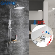 GAPPO système de douche en laiton robinet de baignoire thermostatique   Robinet de douche pluie en laiton et en acier inoxydable