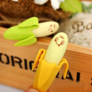 20pcs/set Kawaii lovely banana eraser fruit pencil rubber novelty school student office stationery gift for children