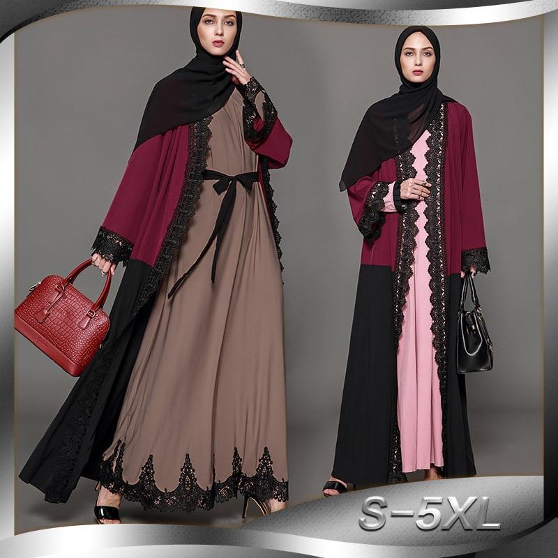 Casual muçulmano mulheres abaya rendas cardigan maxi vestido retalhos túnica robe jalabiya remendo solto oriente médio árabe roupa islâmica