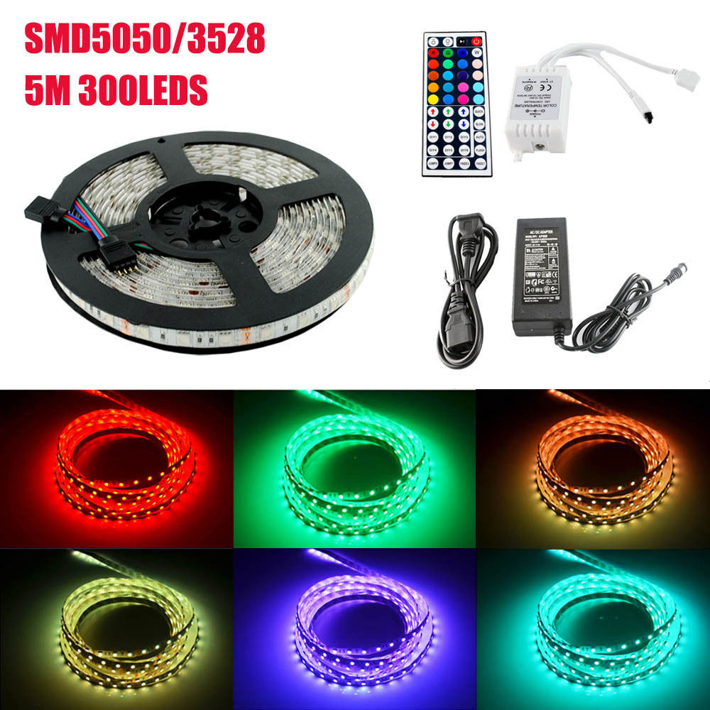 RGB LED a prueba de agua Luz de tira SMD3528 5050 cintas de luz LED conjunto de cintas de baja tensión de 12V 60 uds LED/metro