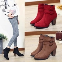 3c boots women 2019 ankle boots for women high heel autumn shoes women fashion zipper boots size 43 botas mujer