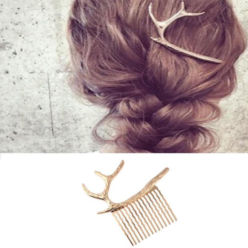 Shuangshuo Cervos Chifre Hairpin Acessórios Do Cabelo Do Casamento Cabelo Pentes de Cabelo Da Moda Clipe Chifres de Animais Pente de Cabelo Presentes de Natal