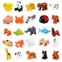 big building blocks cute ocean zoo farm animal diy accessory educational toys for children compatible with big size brick