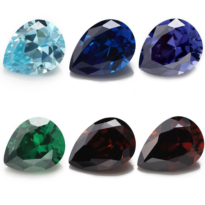 Size 2x3~10x12mm Pear Shape SeaBlue Green Coffee Blue Rhodolite 5A Synthetic Cubic Zirconia Gems