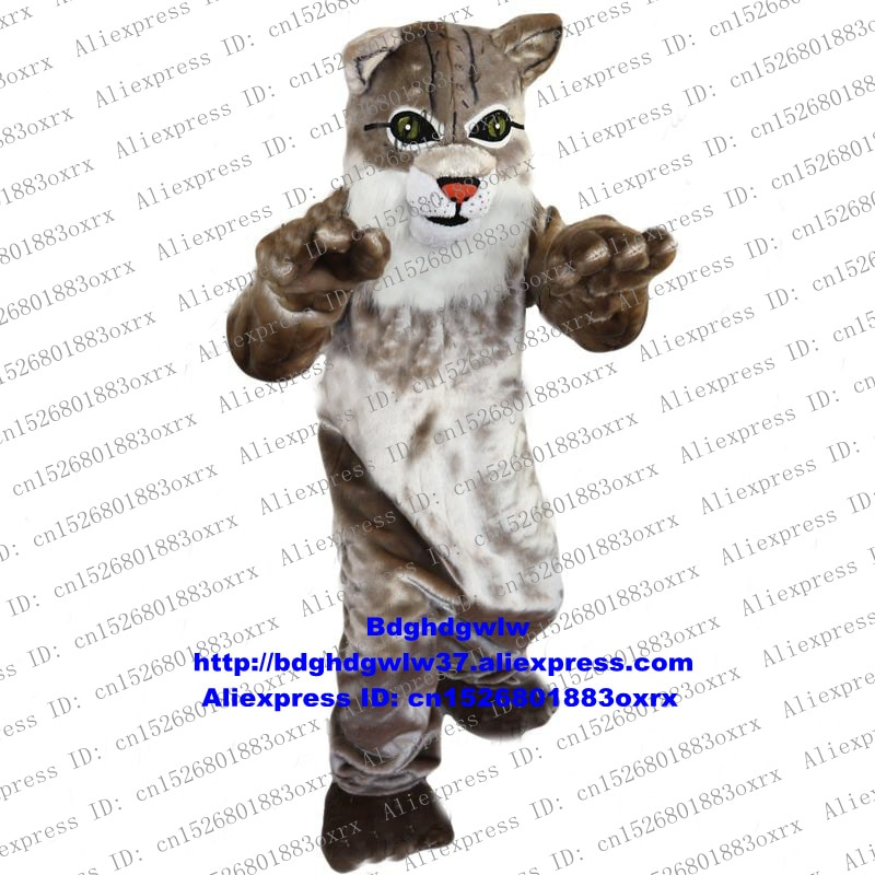 Disfraz gris de gato salvaje, Gato salvaje, ocelote, Lynx, catamound, mascota Bobcat, grupo de personajes de dibujos animados, punto de foto escénico zx526