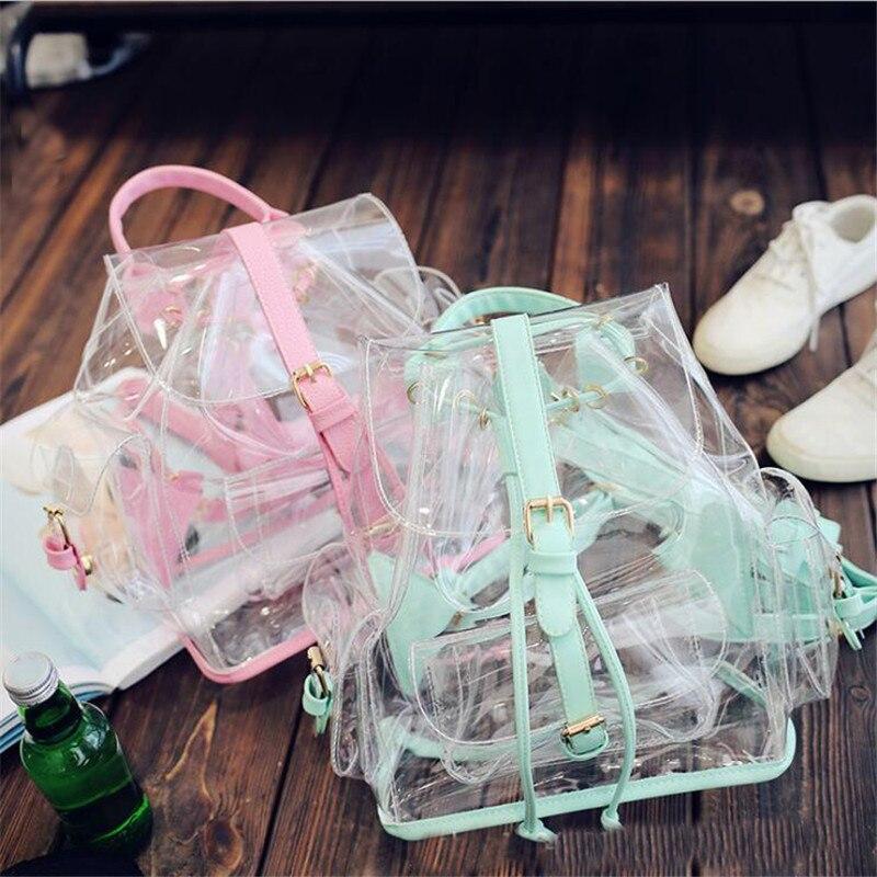 Женские прозрачные рюкзаки из ПВХ, на молнии, школьный рюкзак для девочек-подростков, модные сумки для девочек-подростков, Прямая поставка