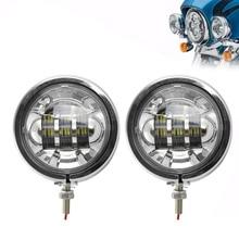 Carcasa de 4,5 pulgadas FADUIES, soporte de montaje de luces antiniebla de motocicleta + foco LED auxiliar cromado de 4,5 pulgadas para motocicleta