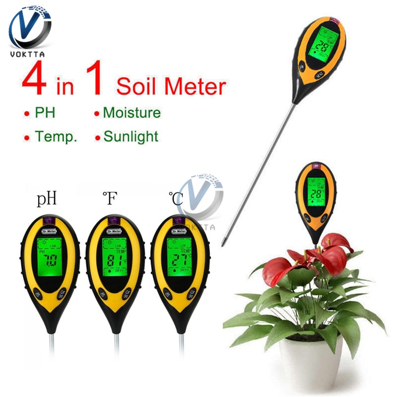 4 IN 1 Digital PH Meter Soil Moisture Monitor Temperature Sunlight Tester Soil Survey Instrument For Gardening Plants Farming