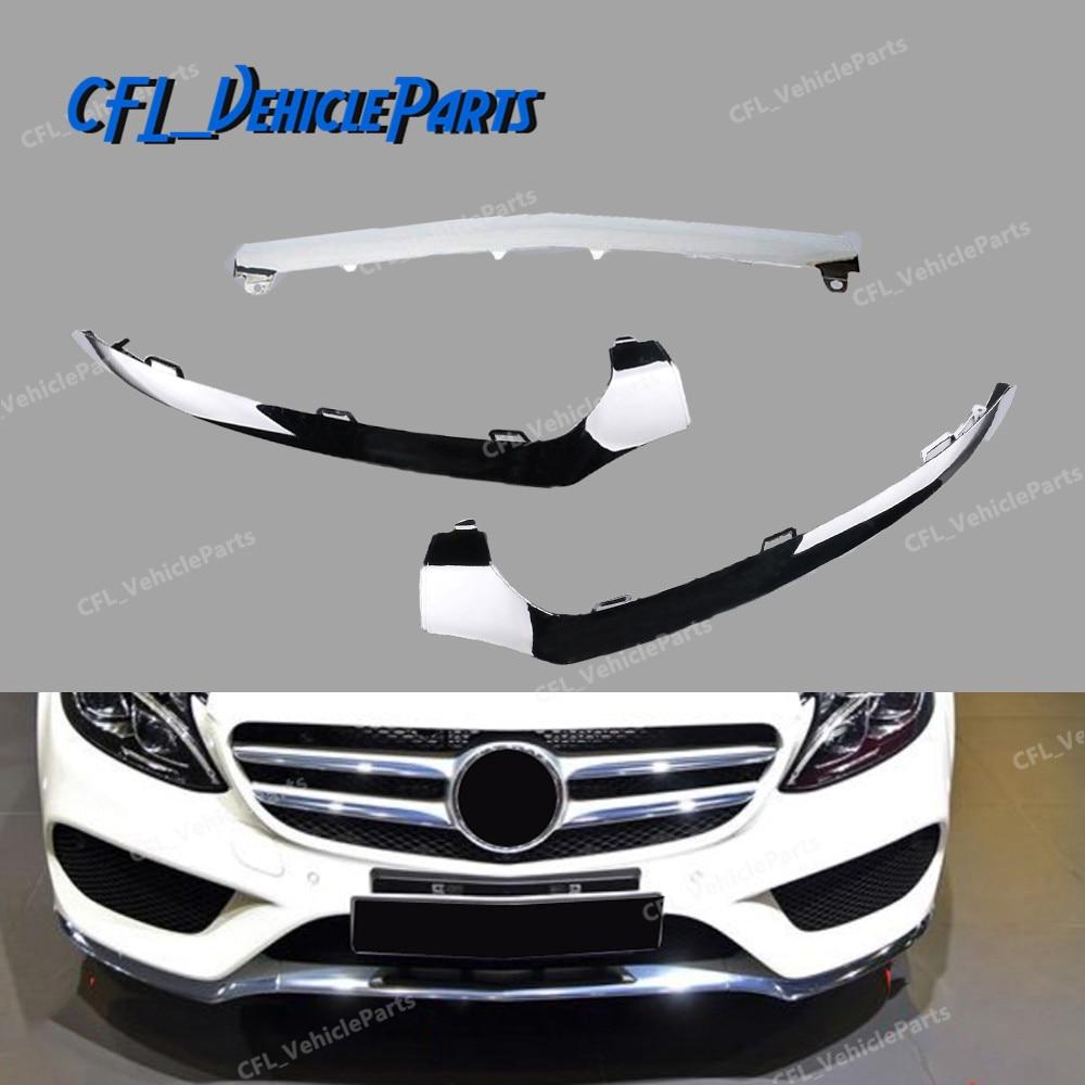 Left Center Right Front Bumper Lower Chrome Molding Trim 2058851374 2058851474 2058851574 For Mercedes W205 C300 C450 C220 C180