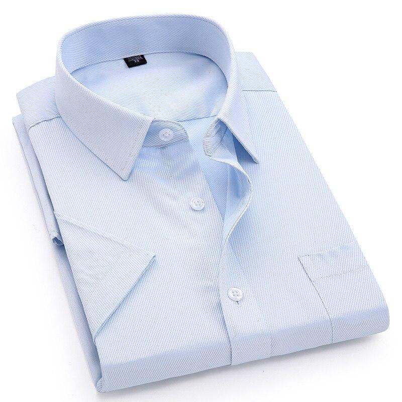 Мужская рубашка с коротким рукавом, белая, синяя, розовая, черная, обтягивающая, 4XL, 5XL, 6XL, 7XL, 8XL