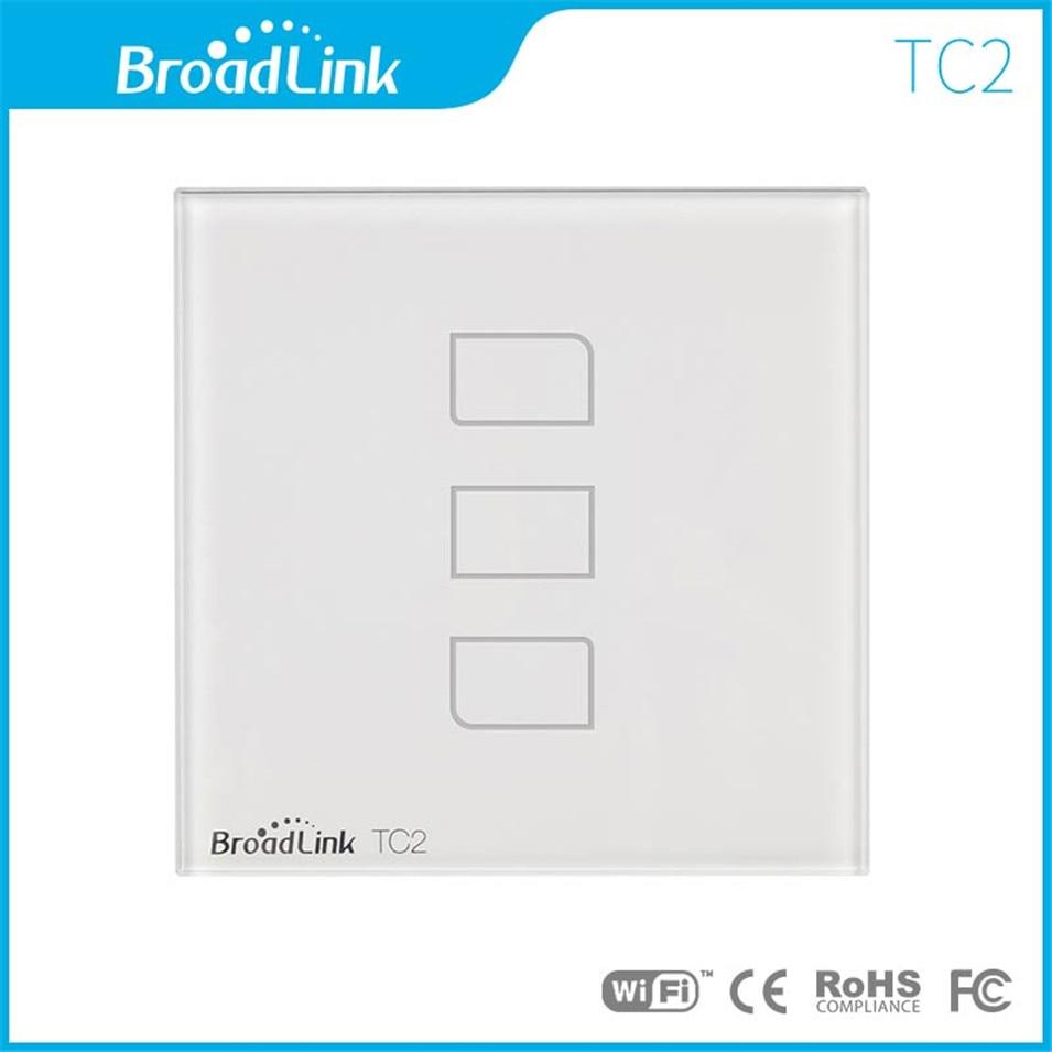 Broadlink-interrupteur tactile WIFI mural intelligent TC2   EU 3gang, commande via RM Pro, télécommande universelle RF433, garantie de 1 an