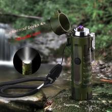 Waterproof seal double arc charging lighter outdoor portable self-strap flashlight usb Lighter cigarette windproof lighter
