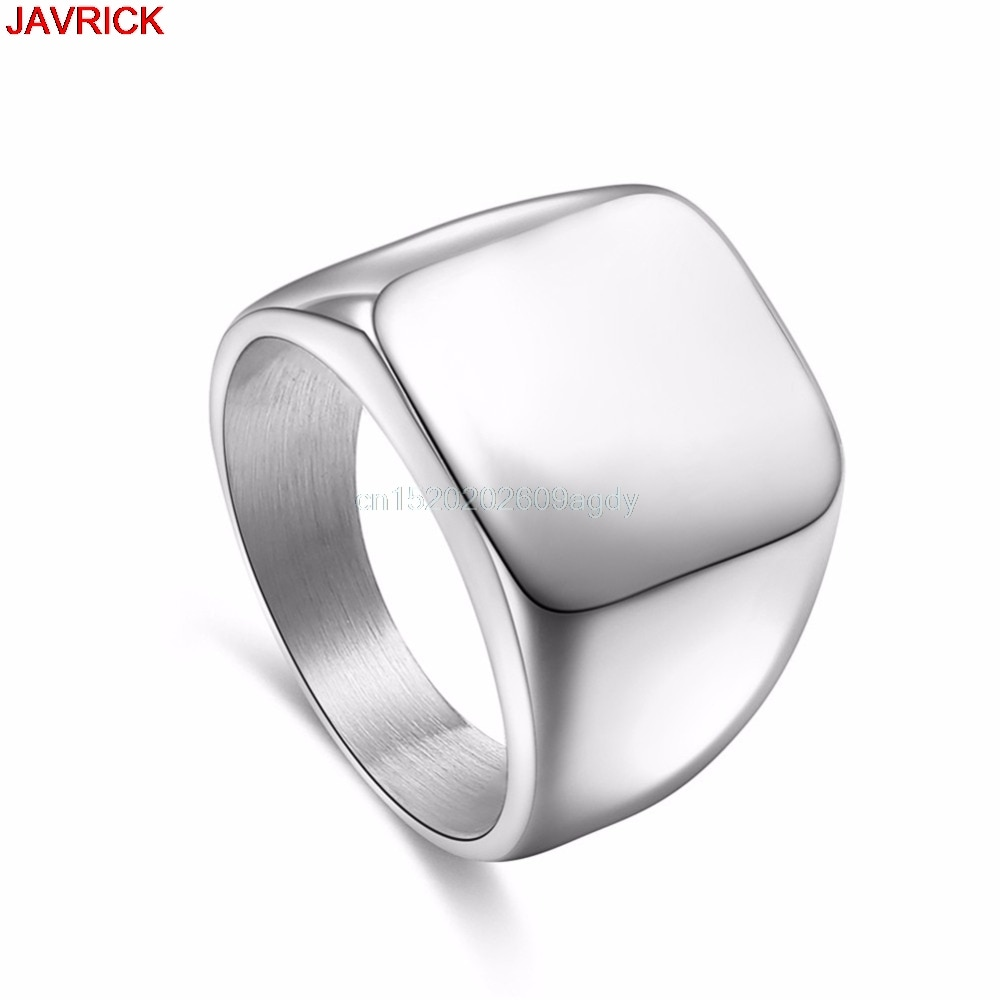 Anillos cuadrados de gran ancho, anillo de acero de titanio para hombre, joyería # H058 #
