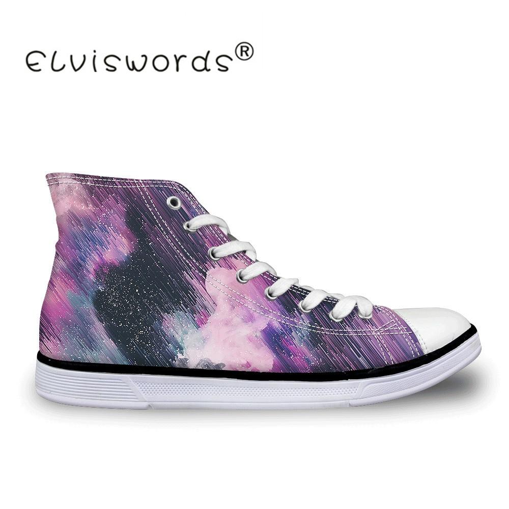 Zapatillas de lona con estampado estético de ELVISWORDS para mujer, zapatillas vulcanizadas, zapatos planos para caminar, calzado deportivo informal transpirable para mujer