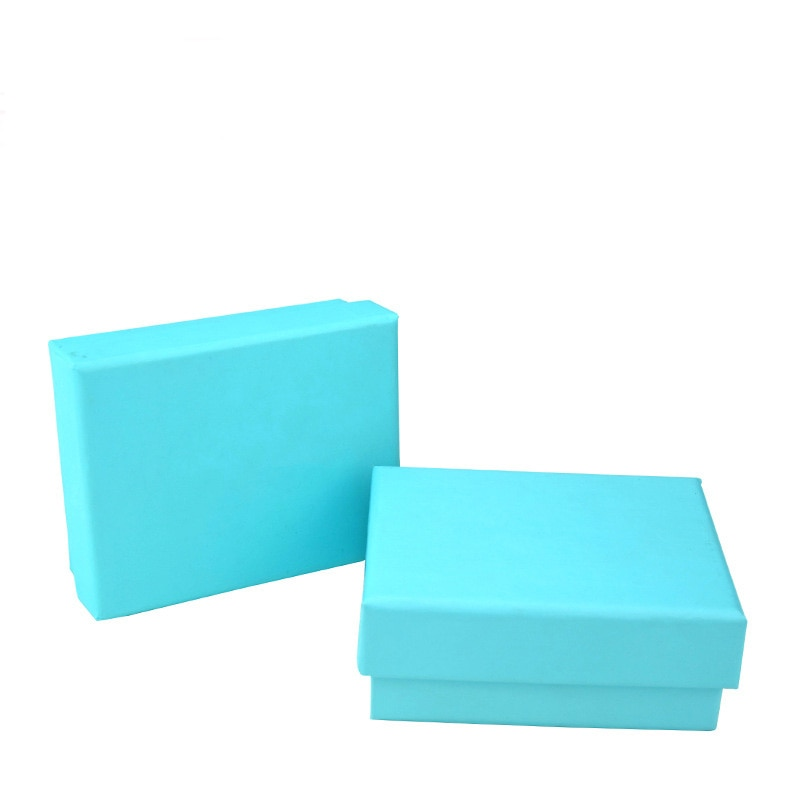 20 Pcs/Lot Kraft Paper Gift Boxes With Pure Sky Blue Jewelry Necklace Persentation Box Cases Customized Display Packaging