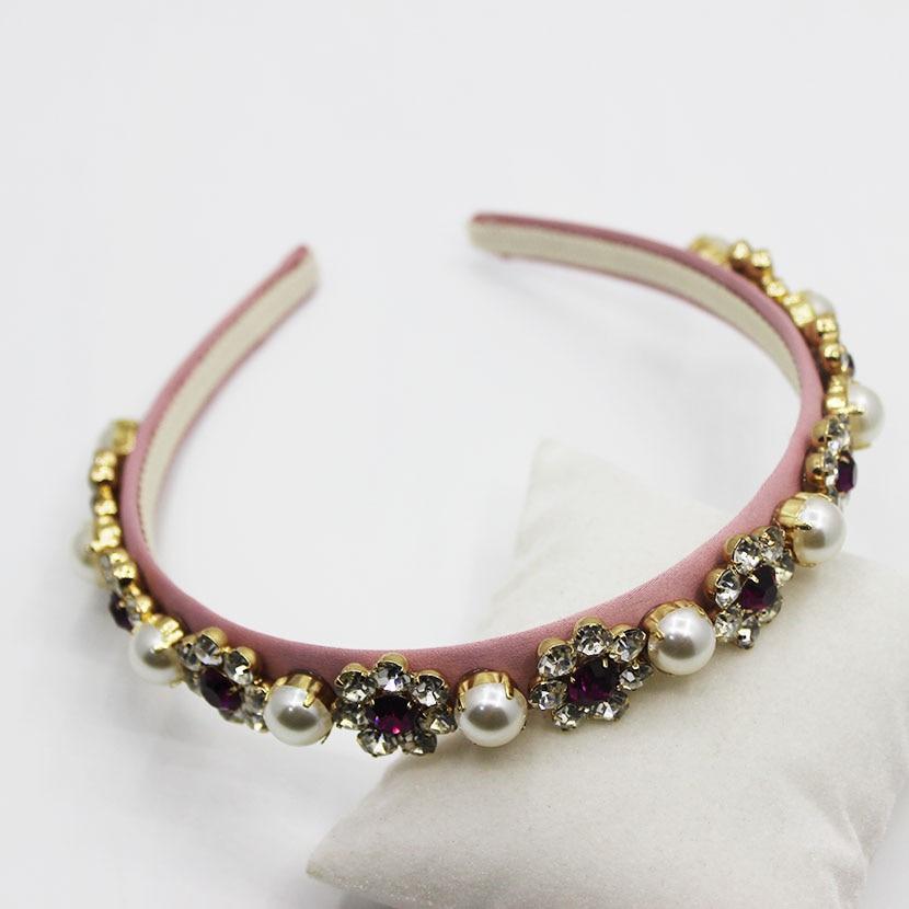 2019 модный светло-розовый Шелковый обруч с инкрустацией кристаллами и стразами, милая Высококачественная заколка для волос с цветами и жемч...