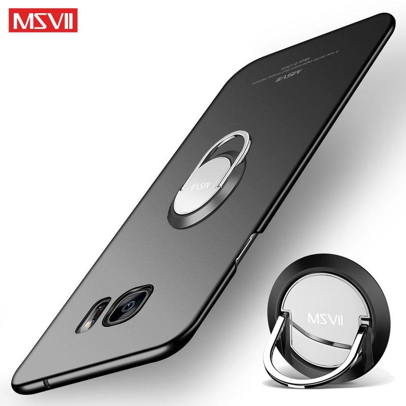 Para Samsung Galaxy S6 Edge funda MSVII anillo de dedo Delgado Coque para Samsung S6 S 6 PC funda trasera dura para Galaxy S6 Edge