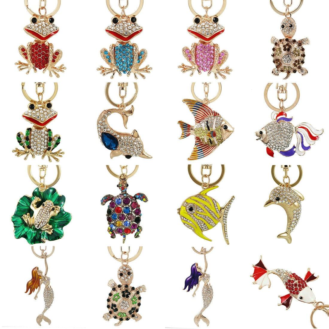 Exquisite Enamel Crystal Fish frog Turtle Key Chains Holder Bag Buckle HandBag Pendant For Car Keyrings KeyChains jewelry