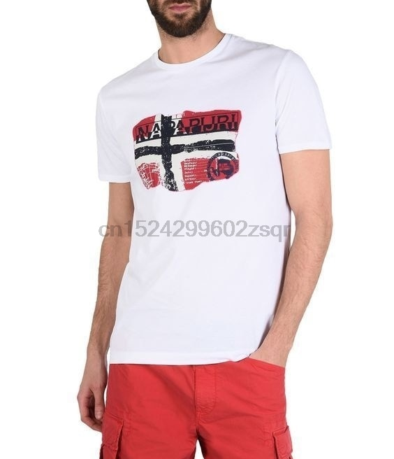Logotipo de moda Napapij camiseta RI manga corta cuello redondo Camiseta suelta divertida abrigo Tops tamaño S-3xl