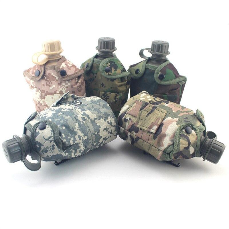Hervidor de agua portátil HDPE de gran capacidad para deportes al aire libre de 1000ML con 8 estilos, taza plegable de 700ml en bolsa de camuflaje militar