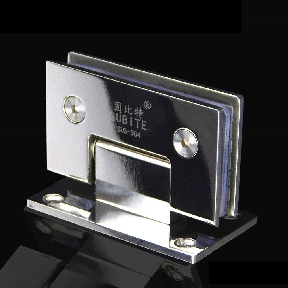 الفولاذ المقاوم للصدأ 304 حمام تركيب زجاج الباب فرملس زجاج كليب كليب مرآة الكروم الأجهزة دش الباب المفصلي