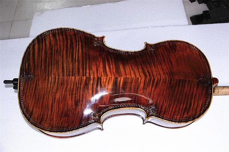 100% hecho a mano de alta calidad Maestro estilo Stradivarius 4/4 violonchelo abeto antiguo llama superior de madera de arce