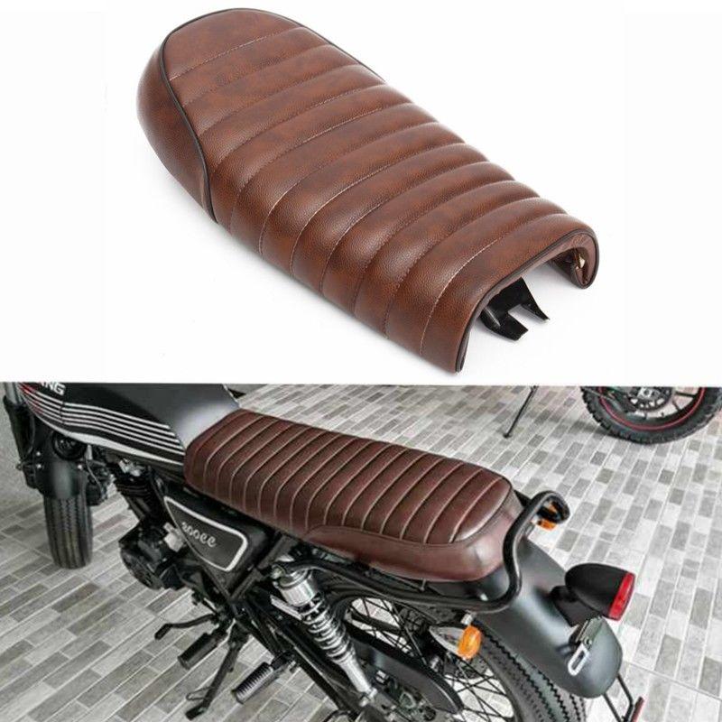Motorcycle Brown Flat Brat Universal Seat Cafe Racer Vintage Saddle for Honda CB350 CB400 CB500 CB550 CB750 Yamaha SR