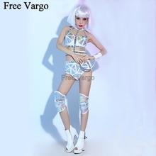 Holografik Yanan Adam Seksi Lazer PU Takım Elbise Festivali Rave Kıyafetler Giysi Dişli Bodysuit Dans Giyim Kadın Şarkıcı Sahne Kostüm