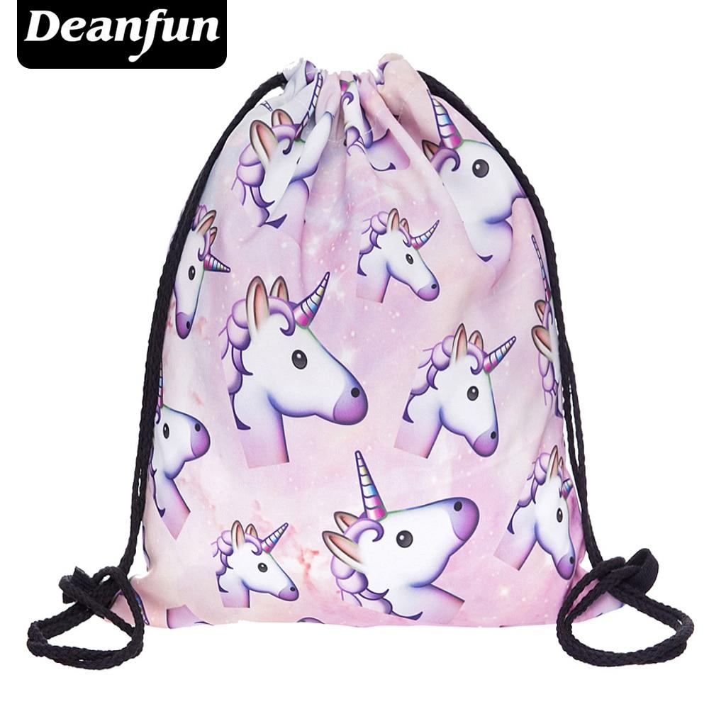 deanfun drawstring bag hot selling 3d printing softback man woman backpacks s89 Deanfun 3D Printing Schoolbags Unicorn Pattern Women Drawstring Bag SKD90