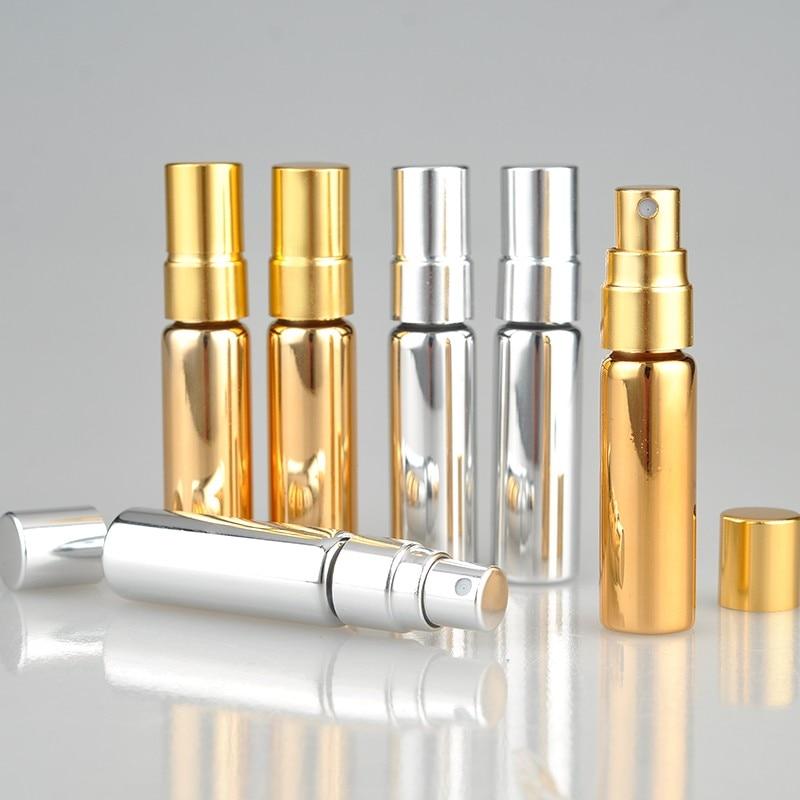 5ML UV Gold Perfume botella de maquillaje portátil envases cosméticos vacíos con bomba de aluminio 100 unids/lote