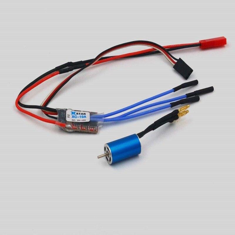 1 Uds 1 S-2 S Mini Q Motor sin escobillas para coche 10300KV 1220 motores con 10A ESC/1,5mm eje para batería de litio RC piezas de conexión