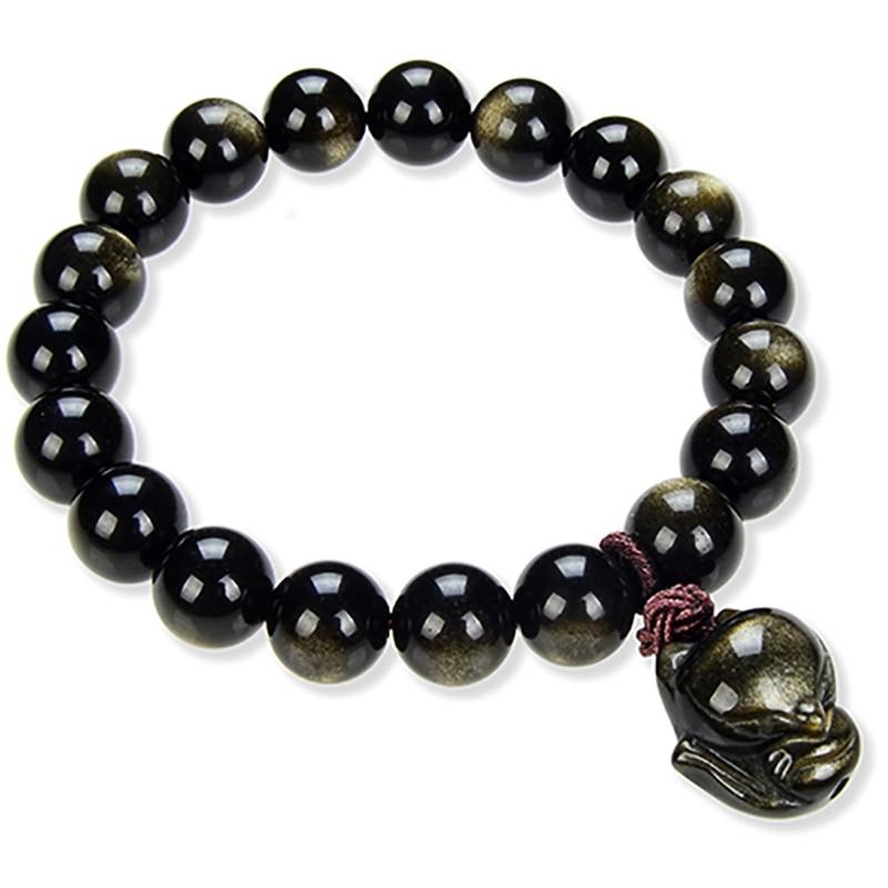 Mulheres jóias Pulseiras de Contas Pulseira Pedra Natural Ouro Obsidian Bonito Cabeça Grande Raposa Fox Espíritos Malignos Mão Pulseiras Para Casais