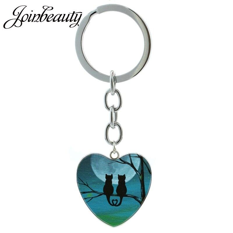 JOINBEAUTY Ruhige Nacht Mond Schwarz Katze keychain Neuheit Tiere Sand Katze Owen Bat Raven Anhänger Keychain Ring Schmuck HP273