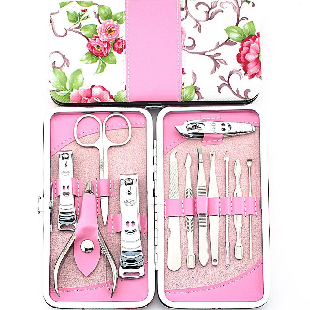 NEW 12pcs Manicure Set Pedicure Scissor Cuticle Knife Ear Pick Nail Clipper Kit Stainless Steel Nail Care Tool manicure set