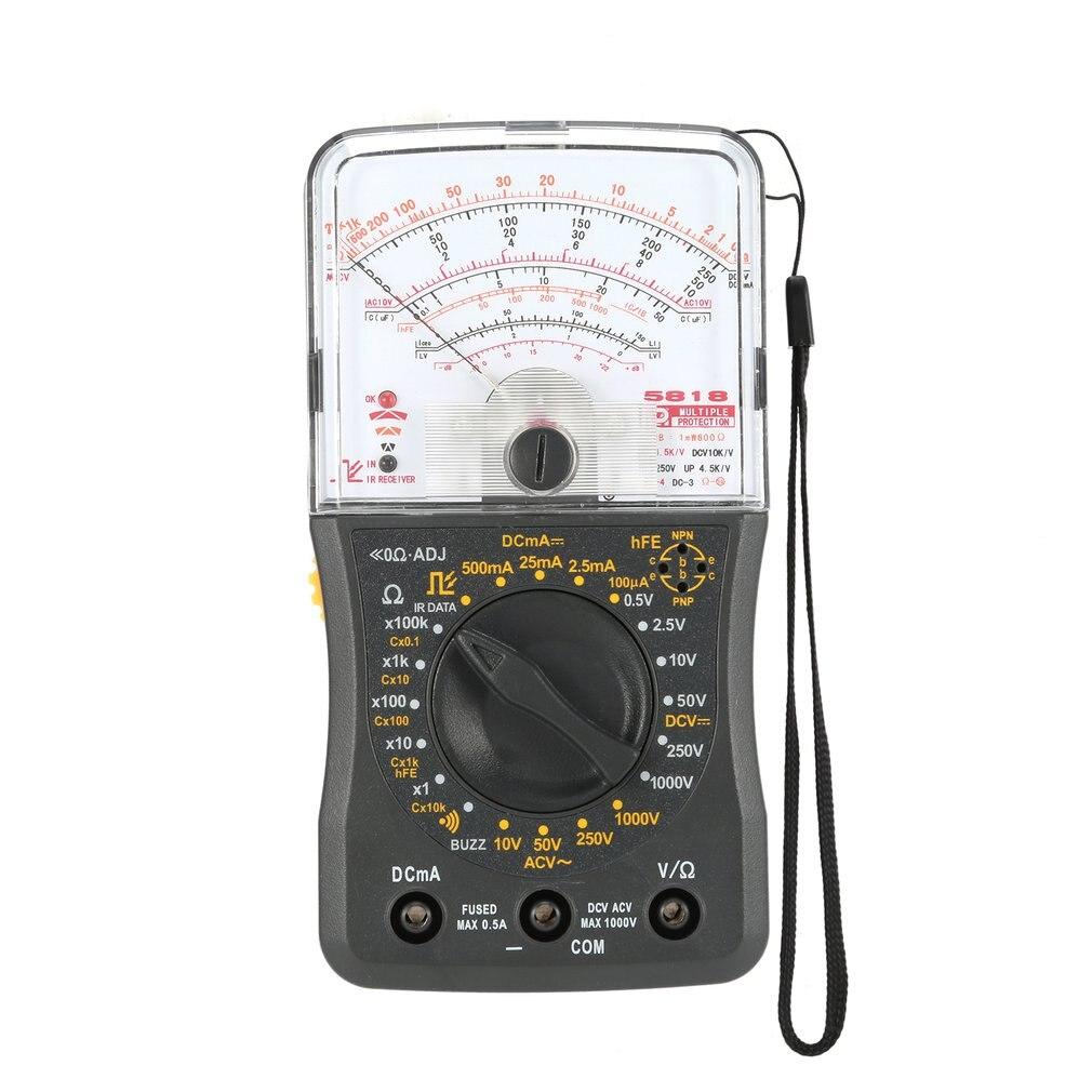 Multímetro analógico Mini portátil, voltímetro CA/CC, amperímetro, medidor de capacitancia de continuidad de resistencia y medidor de diodos