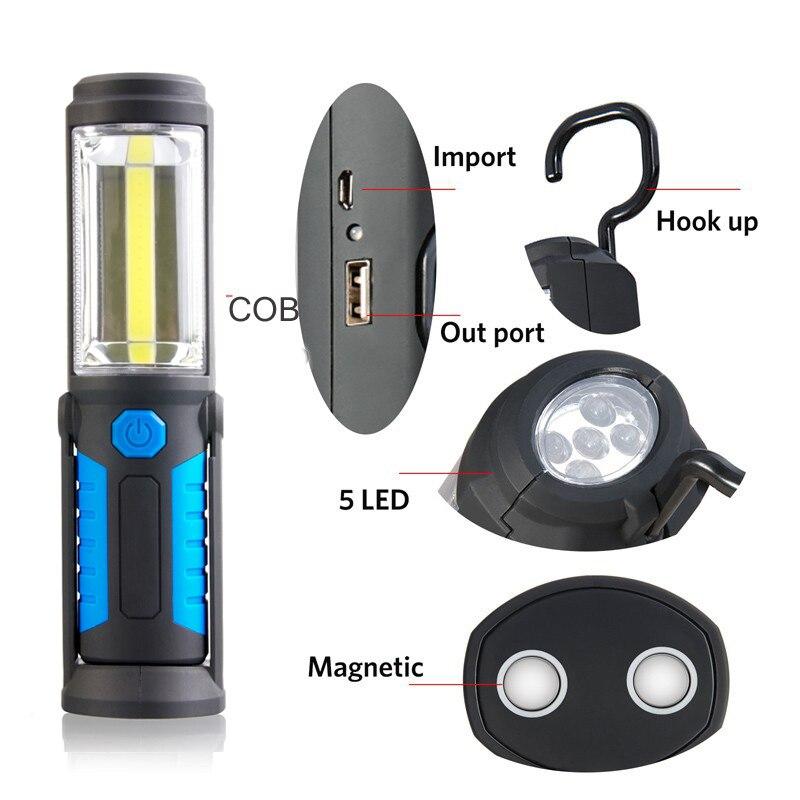 18650 Bateria de Carregamento USB LED Lanterna Tocha COB Lâmpada Função Estande Trabalho Light lanterna GANCHO Magnético Portátil de Energia Móvel