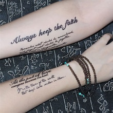 Водонепроницаемые временные фальшивые татуировки, 1 лист, наклейки черного чертенка, не спят, английские буквы, крутой дизайн, боди-арт, инструменты для макияжа