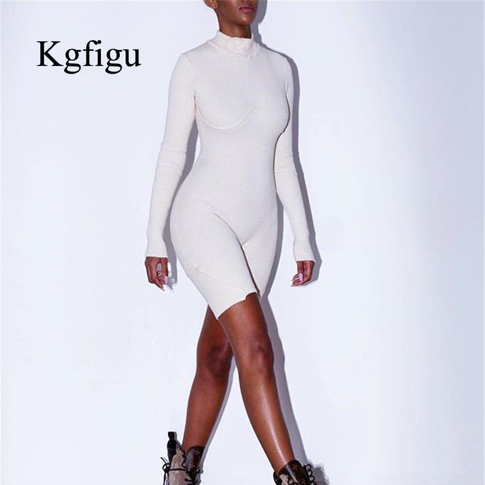 Monos KGFIGU para mujer, conjuntos de otoño 2019, combinación de acanalado blanco para mujer, trajes de punto de manga larga, ropa de calle de tela de algodón