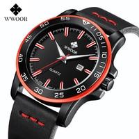 New Top Brand Watch Men WWOOR Waterproof Date Quartz Clock Men Watches Luxury Leather Strap Army Military Male Sport Wrist Watch