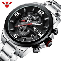 NIBOSI New Black Big Men's Watches Top Brand Luxury Sport Quartz Men Wristwatches Quartz Black Sport Watch Men Relogio Masculino