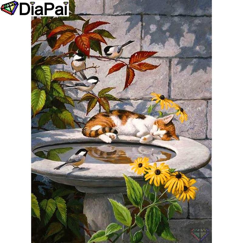 "DIAPAI 100% Full Square/Round Drill 5D DIY Diamond Painting ""Flower cat bird"" Diamond Embroidery Cross Stitch 3D Decor A19191"