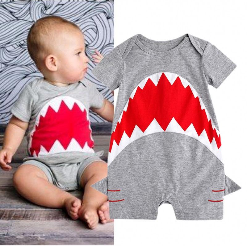 Bebé tiburón lindo mameluco infantil Tolddler manga corta mamelucos jumpsuit verano ropa 0-24M