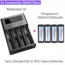 Keeppower 4 шт. 26650 5200 мАч P2652C Защищенный Литий ионный аккумулятор с Nitecore Новый I4 Digi зарядное устройство LCD Интеллектуальный